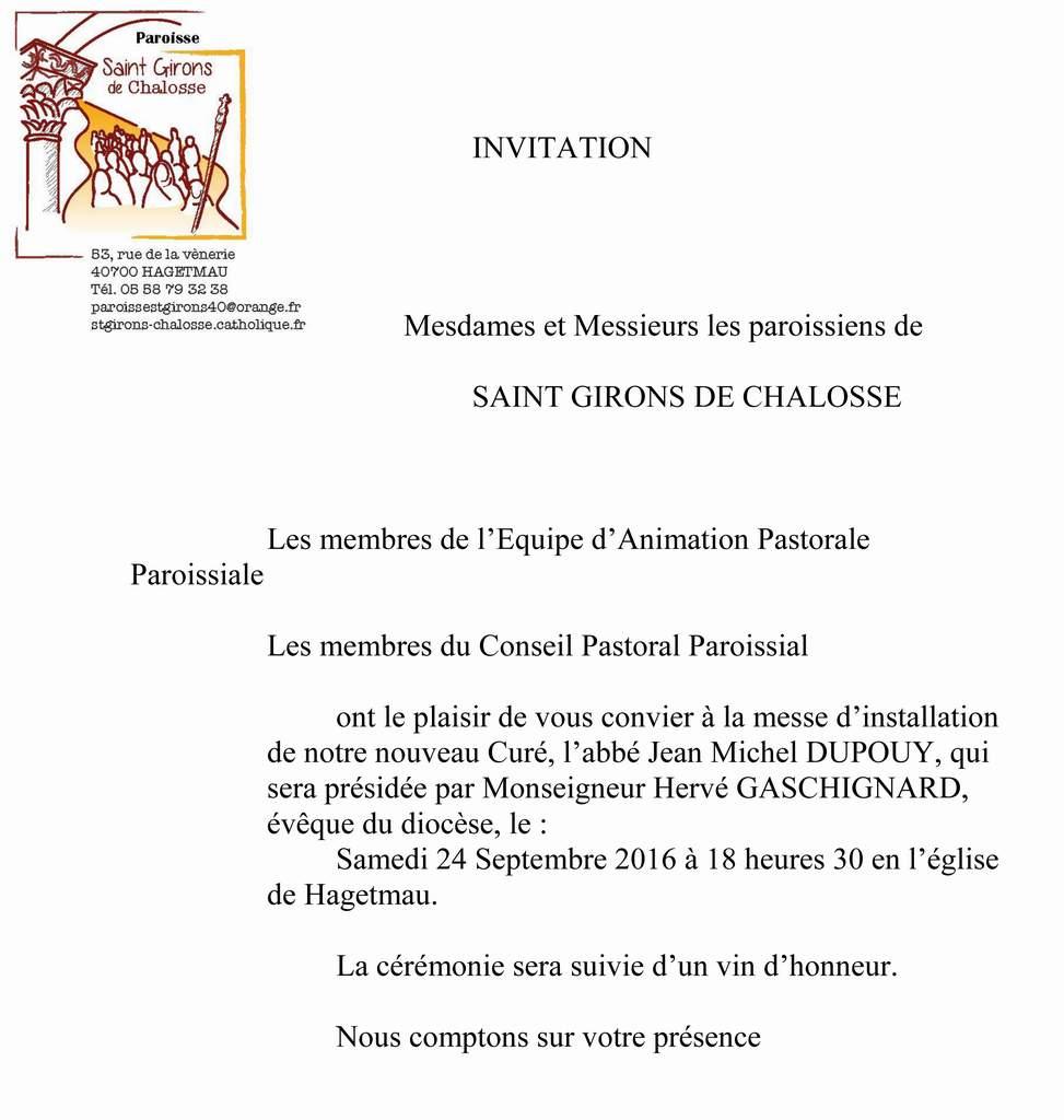Invitation A La Messe D Installation Du Nouveau Cure Suivi D Un Vin